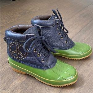 Lucky Brand Navy/Green Peace Duck Boots